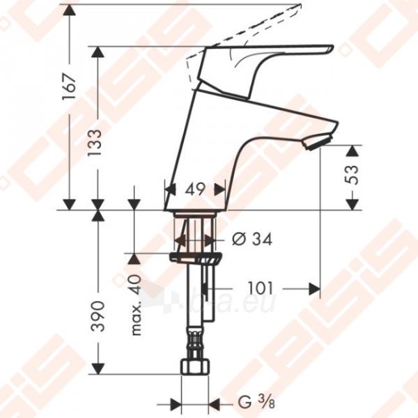 Praustuvo maišytuvas HANSGROHE Focus 70 su push-open ventiliu Paveikslėlis 2 iš 2 270722000725