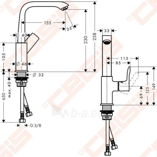 Praustuvo maišytuvas HANSGROHE Metris 230 su push-open ventiliu Paveikslėlis 2 iš 2 270722000754