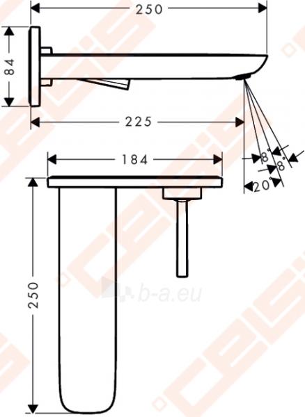 Praustuvo maišytuvas iš sienos HANSGROHE Pura Vida, snapo ilgis 225 mm Paveikslėlis 2 iš 2 270722000786
