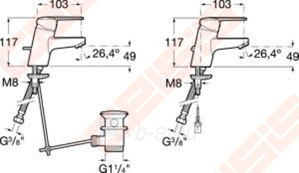 Praustuvo maišytuvas JIKA Tigo su dugno vožtuvu, chromuotas Paveikslėlis 2 iš 2 270722000794