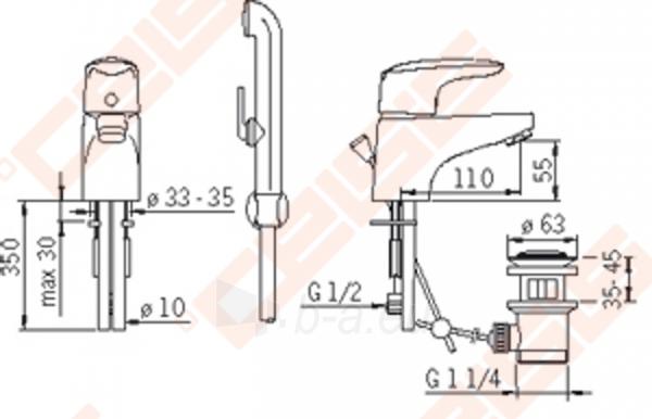 Praustuvo maišytuvas ORAS VEGA su svirtiniu dugno vožtuvu ir Bidette rankiniu dušeliu. Paveikslėlis 2 iš 2 270722000802