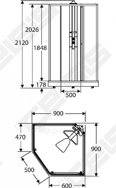 Priekinė pažeminta stiklo dalis dušo bokso IDO Showerama 8-5 90x90, skaidri Paveikslėlis 2 iš 6 270730001031