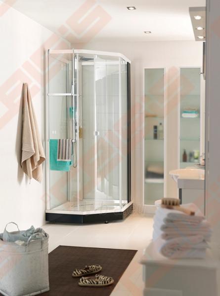 Priekinė stiklo dalis dušo bokso IDO Showerama 8-5 100x100, Dandeleon II ir matinio aliumio profiliu Paveikslėlis 6 iš 6 270730001033
