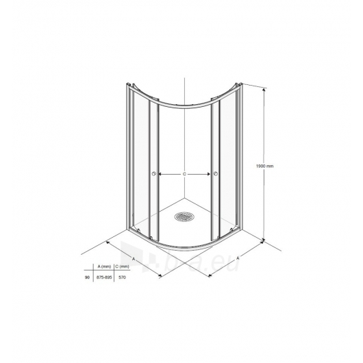 Pusapvalė dušo kabina Ifo Silver Paveikslėlis 2 iš 3 270730001015