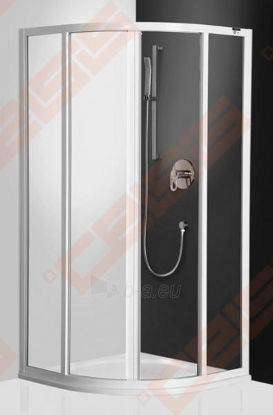 Pusapvalė dušo kabina ROLTECHNIK CLASSIC LINE CR2/100 su dviejų elementų slankiojančiomis durimis,baltos spalvos profiliu ir plastiko užpildu Paveikslėlis 1 iš 4 270730001040