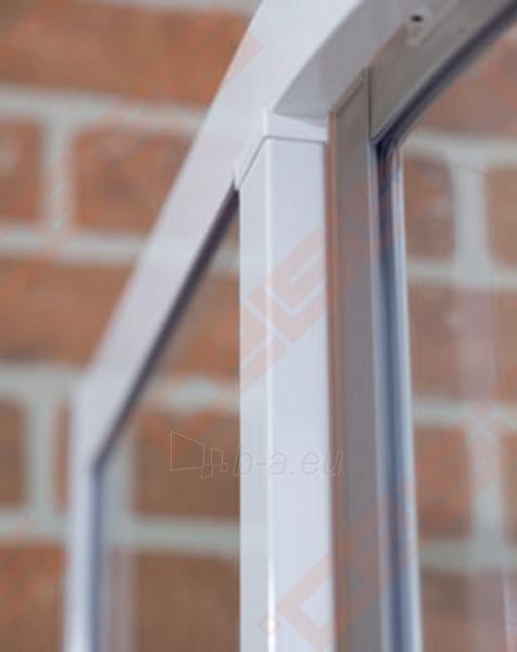 Pusapvalė dušo kabina ROLTECHNIK CLASSIC LINE CR2/100 su dviejų elementų slankiojančiomis durimis,baltos spalvos profiliu ir plastiko užpildu Paveikslėlis 3 iš 4 270730001040