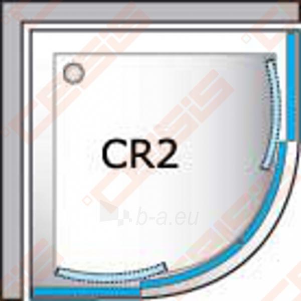 Pusapvalė dušo kabina ROLTECHNIK CLASSIC LINE CR2/100 su dviejų elementų slankiojančiomis durimis,baltos spalvos profiliu ir plastiko užpildu Paveikslėlis 4 iš 4 270730001040