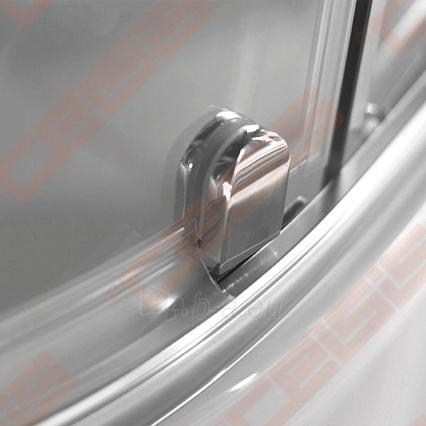 Semicircural shower SANIPRO AUSTIN 80x80 su sidabro spalvos profiliu ir dekoruotu stiklu Paveikslėlis 4 iš 5 270730001043