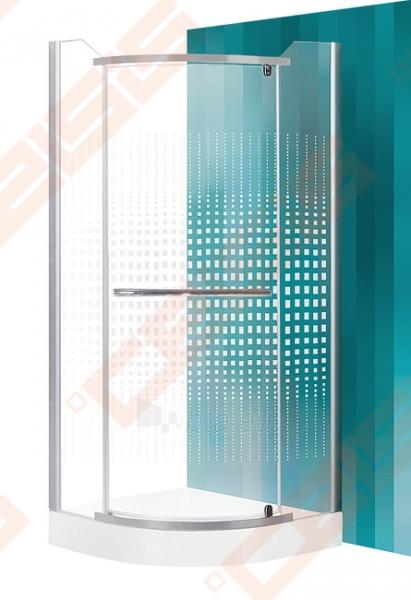 Semicircural shower SANIPRO AUSTIN 90x90 su sidabro spalvos profiliu ir dekoruotu stiklu Paveikslėlis 1 iš 5 270730001044