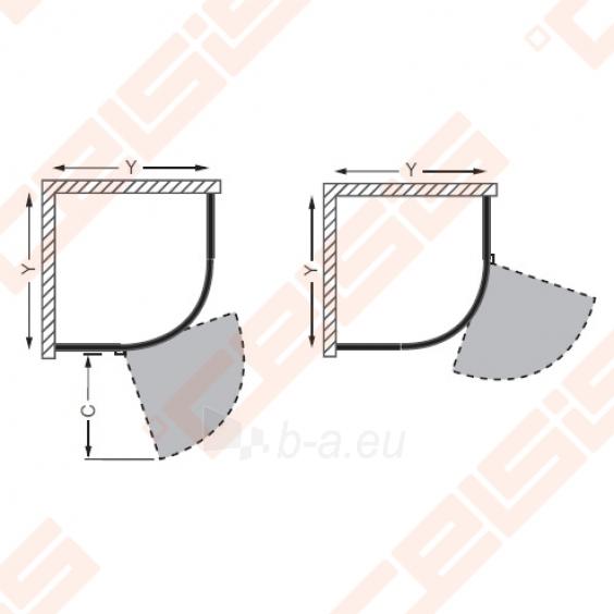Semicircural shower SANIPRO AUSTIN 90x90 su sidabro spalvos profiliu ir dekoruotu stiklu Paveikslėlis 2 iš 5 270730001044