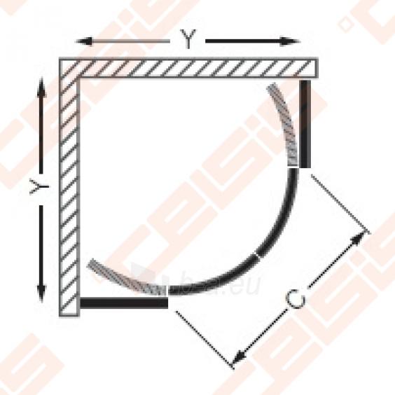 Semicircural shower SANIPRO COFE 90x90 su dviejų elementų slankiojančiomis durimis bei brilliant spalvos profiliu ir tamsintu stiklu Paveikslėlis 2 iš 5 270730001046