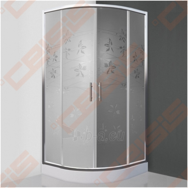 Pusapvalė dušo kabina SANIPRO FLOWER NEO 800 su dviejų elementų slankiojančiomis durimis bei brilliant spalvos profiliu ir dekoruotu stiklu Paveikslėlis 1 iš 5 270730001047