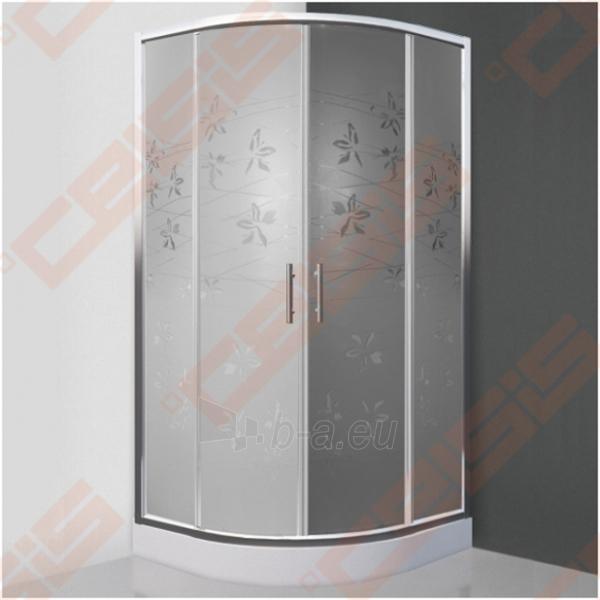 Pusapvalė dušo kabina SANIPRO FLOWER NEO 900 su dviejų elementų slankiojančiomis durimis bei brilliant spalvos profiliu ir dekoruotu stiklu Paveikslėlis 1 iš 5 270730001048