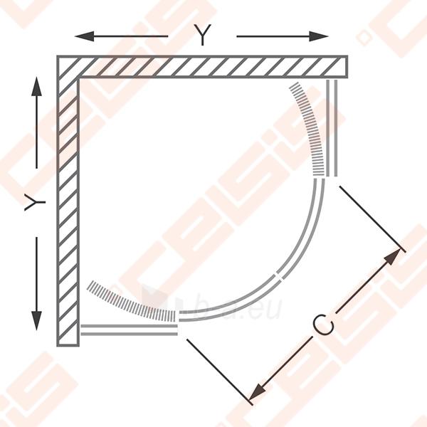 Semicircural shower SANIPRO HGR2/800 su dviejų elementų slankiojančiomis durimis bei brilliant spalvos profiliu ir clear glass Paveikslėlis 2 iš 5 270730001050