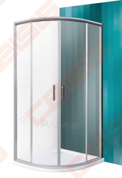 Pusapvalė dušo kabina SANIPRO HGR2/900 su dviejų elementų slankiojančiomis durimis bei brilliant spalvos profiliu ir tamsintu stiklu Paveikslėlis 1 iš 5 270730001054