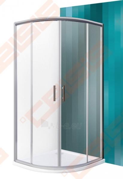 Pusapvalė dušo kabina SANIPRO HGR2/900 su dviejų elementų slankiojančiomis durimisbei brilliant spalvos profiliu ir matiniu stiklu Paveikslėlis 1 iš 5 270730001055