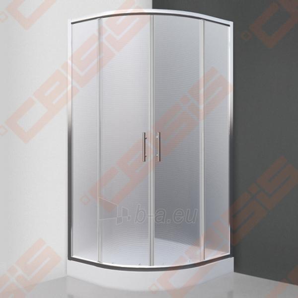 Pusapvalė dušo kabina SANIPRO Houston Neo 80x80 su dviejų elementų slankiojančiomis durimisbei brilliant spalvos profiliu ir matiniu stiklu Paveikslėlis 1 iš 5 270730001058