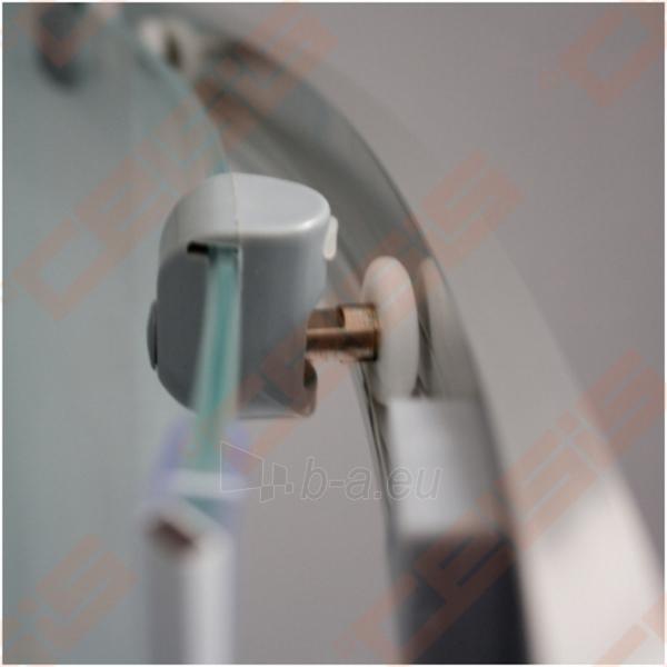 Pusapvalė dušo kabina SANIPRO Houston Neo 80x80 su dviejų elementų slankiojančiomis durimisbei brilliant spalvos profiliu ir matiniu stiklu Paveikslėlis 3 iš 5 270730001058