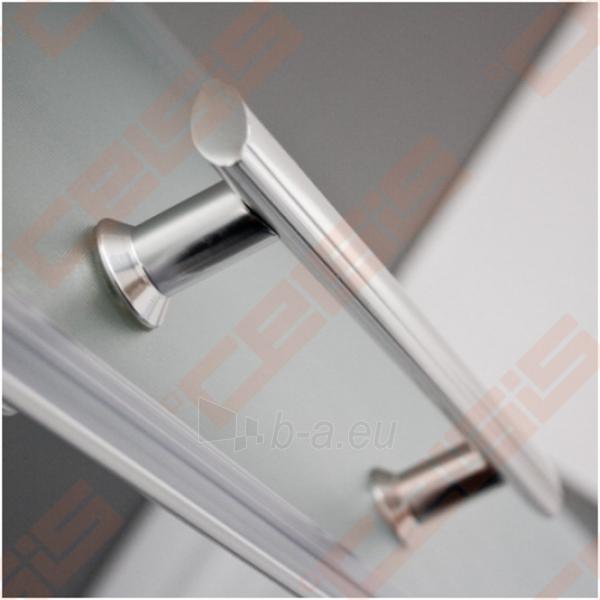 Pusapvalė dušo kabina SANIPRO Houston Neo 80x80 su dviejų elementų slankiojančiomis durimisbei brilliant spalvos profiliu ir matiniu stiklu Paveikslėlis 4 iš 5 270730001058