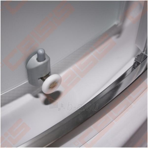 Pusapvalė dušo kabina SANIPRO Houston Neo 80x80 su dviejų elementų slankiojančiomis durimisbei brilliant spalvos profiliu ir matiniu stiklu Paveikslėlis 5 iš 5 270730001058