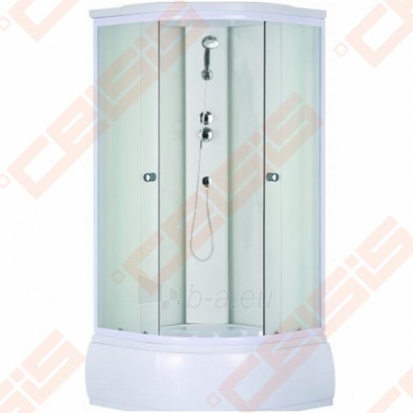 Pusapvalis dušo boksas SANIPRO Deep 90x90 su baltos spalvos profiliu ir matiniu stiklu (4 dalių) Paveikslėlis 1 iš 1 270730001060