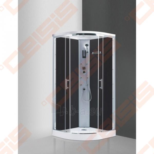 Pusapvalis masažinis dušo boksas SANIPRO Marocco Neo 90 su brilliant spalvos profiliu ir tamsintu stiklu Paveikslėlis 1 iš 1 270730001067