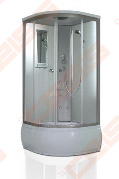 Pusapvalis masažinis dušo boksas SANIPRO Oslo Deep 90x90 su sidabro spalvos profiliu ir skaidriu stiklu Paveikslėlis 1 iš 1 270730001069