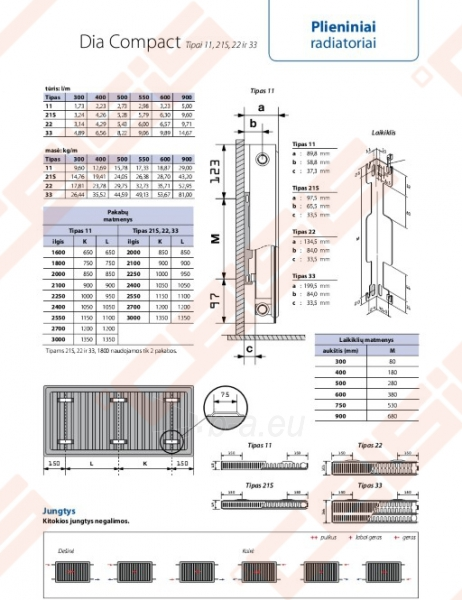 Radiator DIANORM 33_300x900 side Paveikslėlis 2 iš 2 270621001772