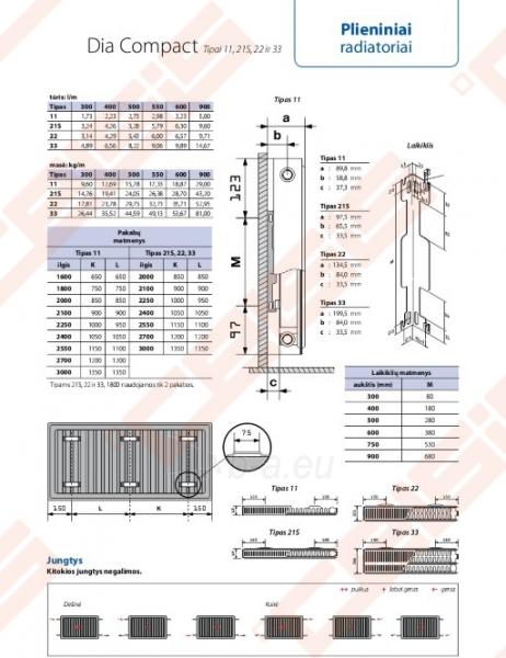 Radiator DIANORM 33_400x1000 side Paveikslėlis 2 iš 2 270621001773