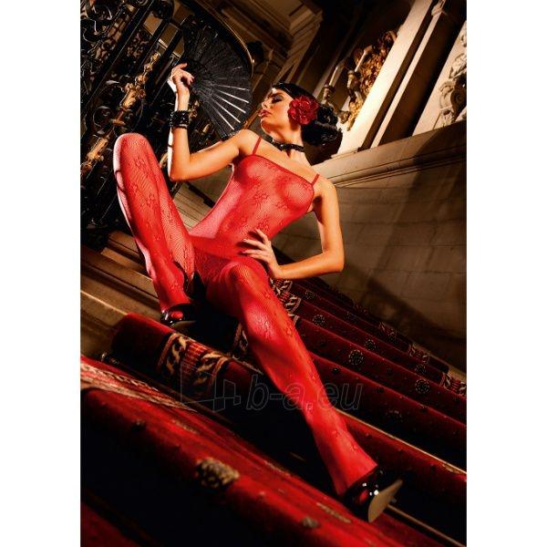 Raudona gėlėtų nėrinių kūno kojinė Paveikslėlis 1 iš 4 310820005738