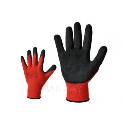 Raudonos nailoninės pirštinės, aplietos lateksu Paveikslėlis 1 iš 1 224602400008