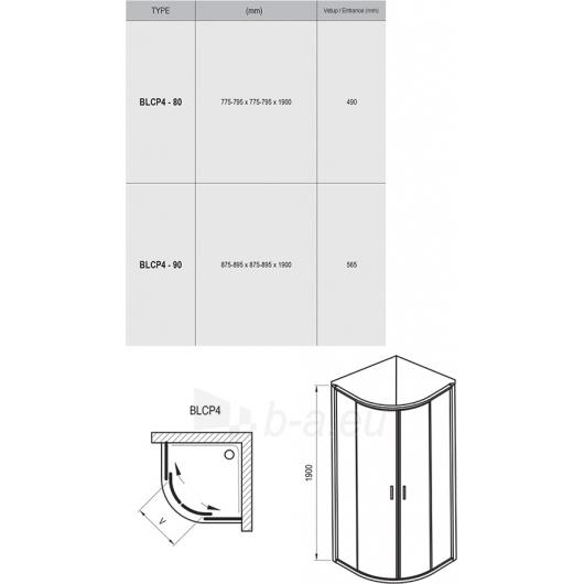 Ravak BLCP4-90 dušo komplekt.: Kabina 90 + padėklas 90+ sifonas Paveikslėlis 5 iš 8 270730001105