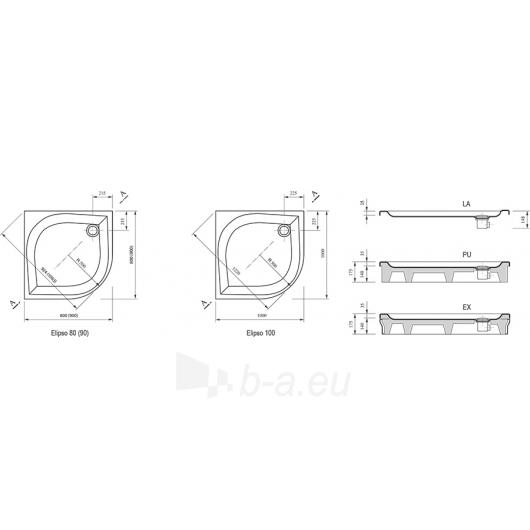 Ravak BLCP4-90 dušo komplekt.: Kabina 90 + padėklas 90+ sifonas Paveikslėlis 8 iš 8 270730001105