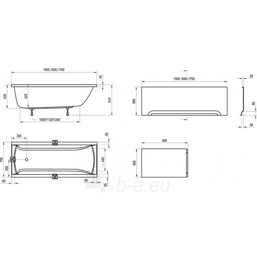 RAVAK CLASSIC 160x70, akrilinė vonia Paveikslėlis 1 iš 3 270716000535