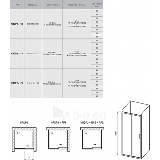 Ravak dušo durys Rapier NRDP2 1200x1900 Paveikslėlis 6 iš 6 270730001124