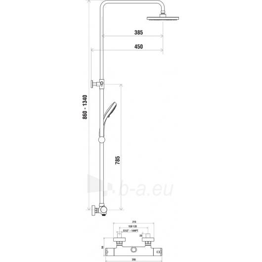 Ravak dušo stovas su termostatiniu maišytuvu, 091.00/150 Paveikslėlis 2 iš 2 270790100185