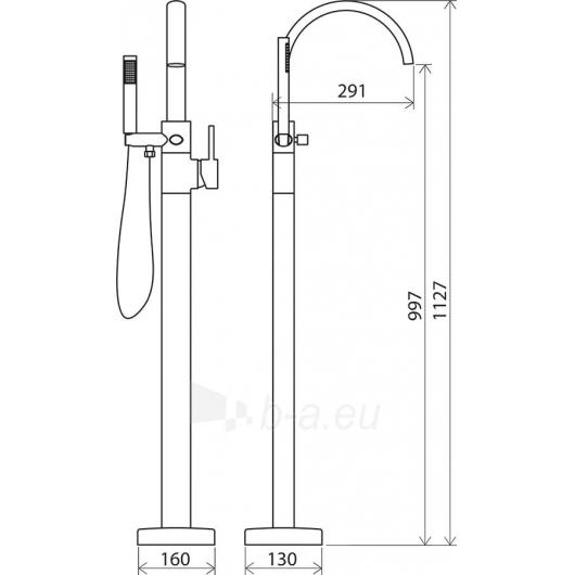 Ravak grindinis vonios maišytuvas Paveikslėlis 3 iš 3 270725000286