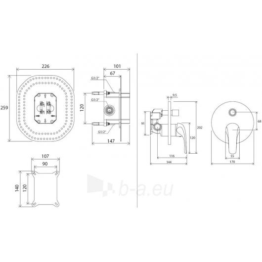 Ravak potinkinis maišytuvas Rosa su jungikliu, skirtas R-box, RS Paveikslėlis 2 iš 2 270725000380