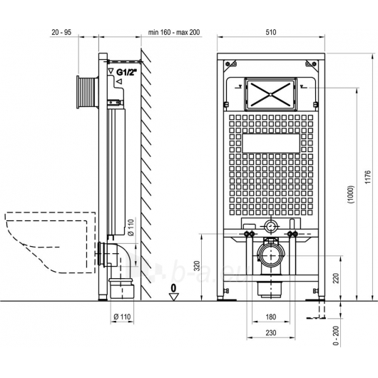 Ravak rėminis potinkinis modulis G/1200 Paveikslėlis 2 iš 2 270790200197