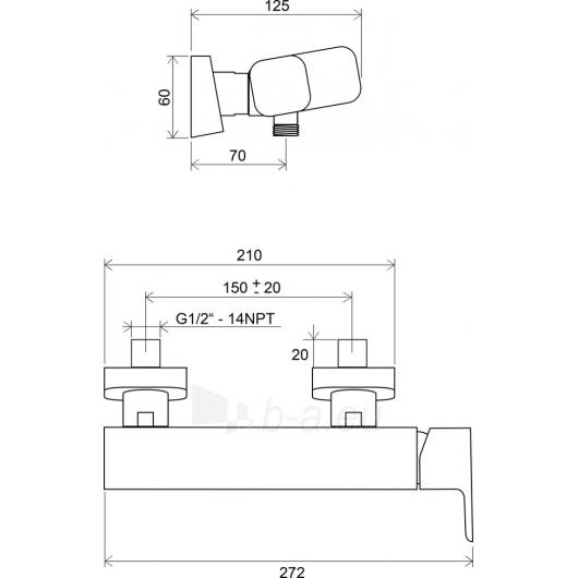 Ravak sieninis dušo maišytuvas 10°, 150 mm TD 032/150 Paveikslėlis 2 iš 2 270721000525