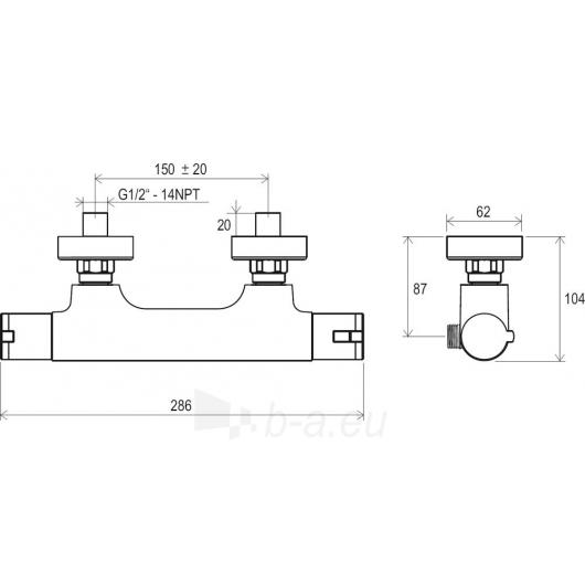 Ravak sieninis termostatinis dušo maišytuvas 150 mm , TE 032.00/ Paveikslėlis 2 iš 2 30091700062