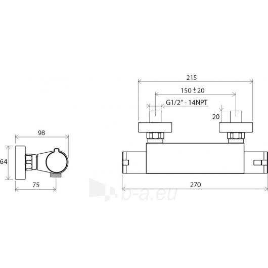 Ravak sieninis termostatinis dušo maišytuvas 150 mm , TE 072.00/ Paveikslėlis 2 iš 2 30091700063