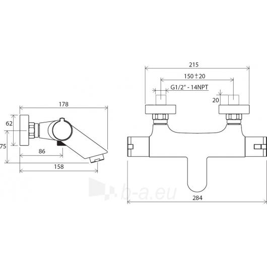 Ravak sieninis termostatinis vonios maišytuvas 150 mm , TE 022.0 Paveikslėlis 2 iš 2 30091700064