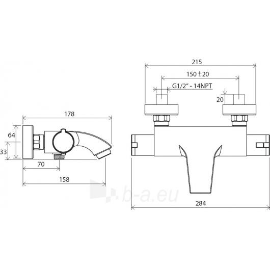 Ravak sieninis termostatinis vonios maišytuvas 150 mm , TE 082.0 Paveikslėlis 2 iš 2 30091700065