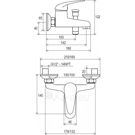 Ravak sieninis vonios/dušo maišytuvas Suzan 150 mm , SN 022.00/1 Paveikslėlis 2 iš 2 270725000385