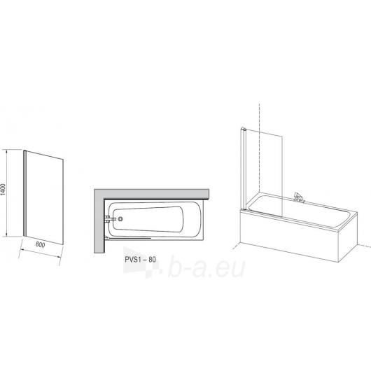 Ravak vonios sienelė PVS1 balta/Transparent Paveikslėlis 1 iš 2 270717001030