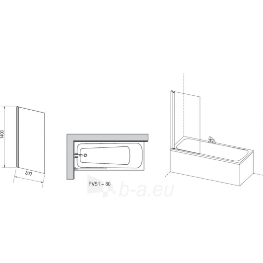 Ravak vonios sienelė PVS1 satinas/Transparent Paveikslėlis 1 iš 2 270717001031