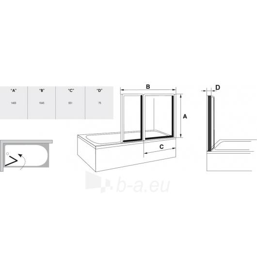 Ravak vonios sienelė VS2 balta/Transparent Paveikslėlis 3 iš 3 270717001032