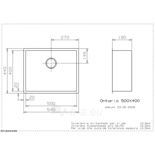 Reginox plieninė plautuvė Ontario 40x50 Paveikslėlis 1 iš 2 270712000572