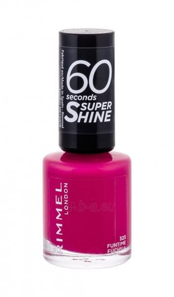 Rimmel London 60 Seconds Super Shine Nail Polish Cosmetic 8ml 323 Funtime Fuchsia Paveikslėlis 2 iš 2 250874000989